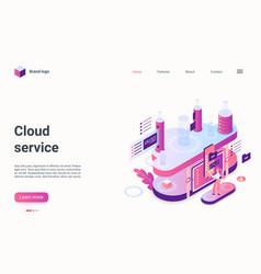 cloud service storage concept isometric landing vector image
