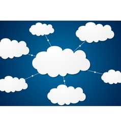 Clouds server communication tech design vector image