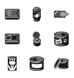 Conserve tin can icon set simple style vector