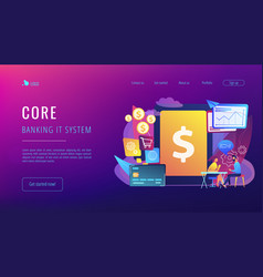 Core banking it system concept landing page vector