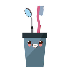 Cup with dental tools cute kawaii cartoon vector