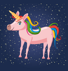 cute cartoon unicorn on background space vector image