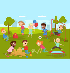 cute children playing in playground on nature vector image
