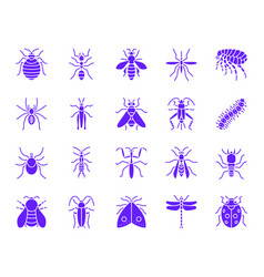 Danger insect color silhouette icons set vector