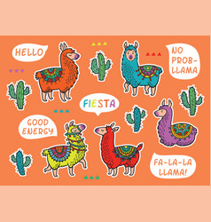 Decorative llama alpaca set colorful vector