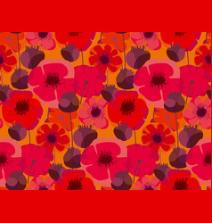 decorative red poppy floral repeatable motif vector image