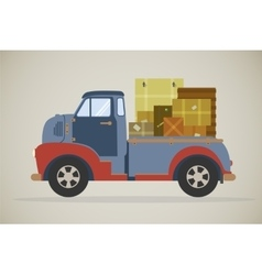 delivery truck with parcels vector image
