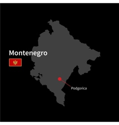 Detailed map of Montenegro and capital city vector image