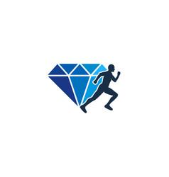Diamond run logo icon design vector