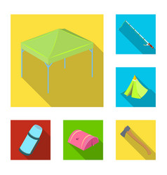 different kinds of tents flat icons in set vector image