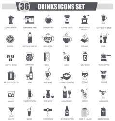 Drinks black icon set Dark grey classic vector image vector image
