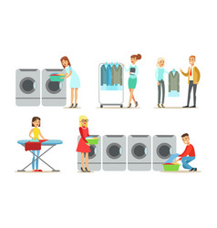 Dry cleaning service set people using vector