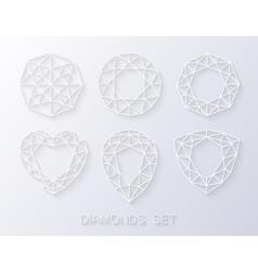Elegant paper style diamonds icons logo set vector image