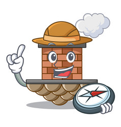 Explorer miniature cartoon brick chimney above vector