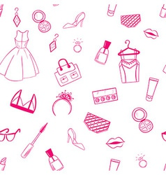 Fashion seamless pattern Dress ear rings lipstick vector image