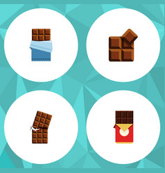 flat icon cacao set of bitter wrapper cocoa and vector image