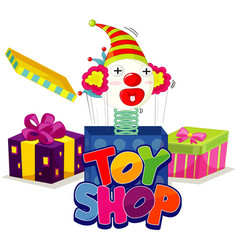 Font design for word toy shop with jack in box vector