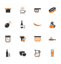 Food and kitchen icons set vector