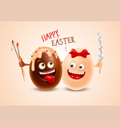 fun dark and white chocolate easter eggs vector image