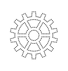 gear sign black dashed icon on white vector image