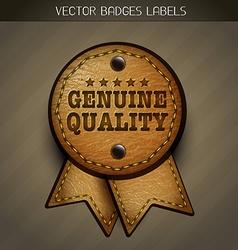 Genuine leather label vector
