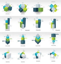 geometry cube infographic template vector image