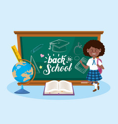 girl student with blackboard and global map vector image
