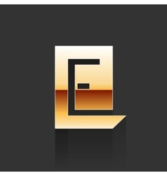 Gold Letter E Shape Logo Element vector image