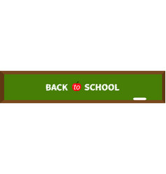 green board with chalk back to school red apple vector image