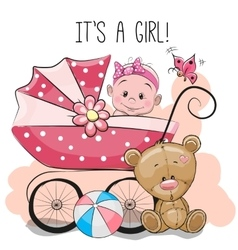 Greeting card its a girl with baby carriage and vector