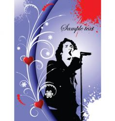 greeting card with singer image vector image