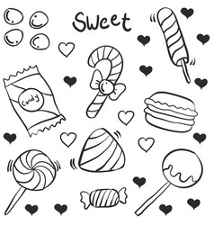 hand draw candy various doodles vector image