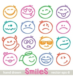 Hand drawn smiles vector