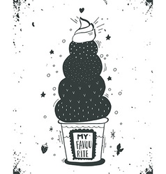 Hand drawn vintage label with ice cream and vector