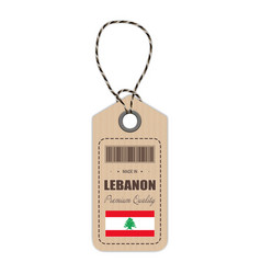 hang tag made in lebanon with flag icon isolated vector image