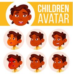 indian boy avatar set kid kindergarten vector image