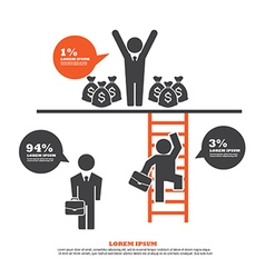 Infographic Template with Businessman Climbing Lad vector