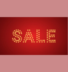 inscription of sale with neon lamps text vector image