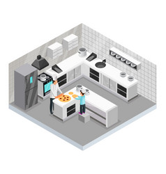 Isometric home cooking template vector