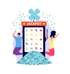 jackpot winners online casino lucky man woman vector image