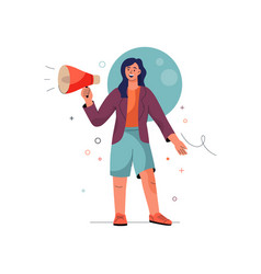 Join us concept woman shouts into megaphone vector