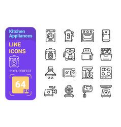 Kitchen appliances line icons set vector