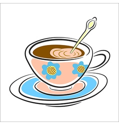 Latte coffee Cup on a saucer vector