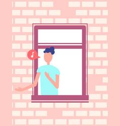 man singing song or speaking window brick wall vector image