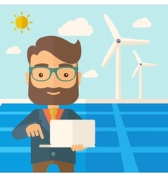 Man with laptop in solar panel vector image