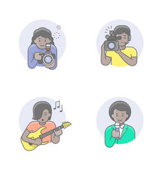 media occupations african girl avatars vector image
