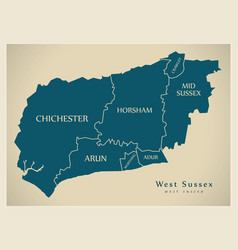 Modern map - west sussex county with district vector