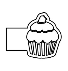 Monochrome contour of cupcake with strawberry and vector