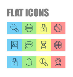 network icons set with messaging decrease loup vector image