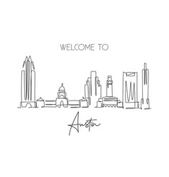 One single line drawing austin city skyline vector